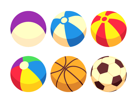 Sport and toy balls icons isolated on white. Colored ball, vector illustration