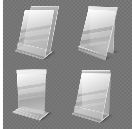 Realistic business information transparent plexiglass empty holders isolated vector. Plastic plexiglass empty holder for card or menu illustration Stock Illustratie