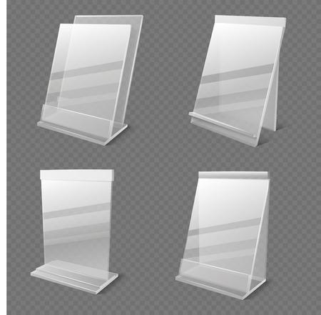 Realistic business information transparent plexiglass empty holders isolated vector. Plastic plexiglass empty holder for card or menu illustration Illustration