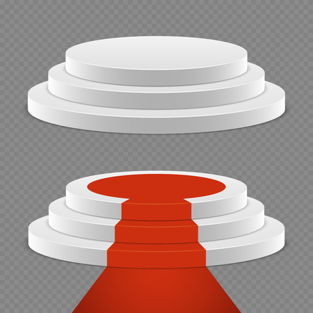Realistic pedestal set - 3d pedestal with red carpet. Podium platform for award, vector illustration