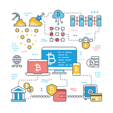 Blockchain and internet cryptocurrency transaction. Bitcoin stock market and finance support vector concept. Financial economy bitcoin market currency illustration Illustration