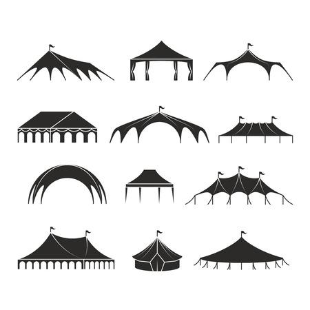 Schutzzelt im Freien, Ereignispavillonzeltvektorikonen. Schützen Sie schwarze Schattenbild-, Festzelt- und Pavillonsegeltuchillustration Vektorgrafik