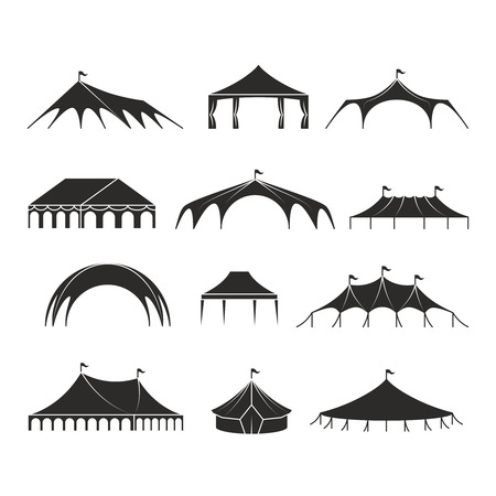 Outdoor shelter tent, event pavilion tents vector icons. Shelter black silhouette, marquee and pavilion canvas illustration Vectores