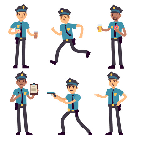 Officer policeman vector cartoon characters isolated. Patrol cops for police concept. Police officer person, character security in uniform and cap illustration Vectores