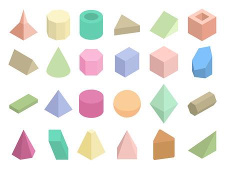 basic figure: Isometric 3d geometric color shapes vector set. Isometric figure pyramid and triangle illustration