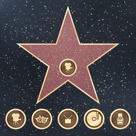 Walk of fame ster graniet ondertekenen op stoep met Film Academy categorieën vector iconen. De faam van de illustratiegang op stoep, beroemd en populaire ster Stock Illustratie