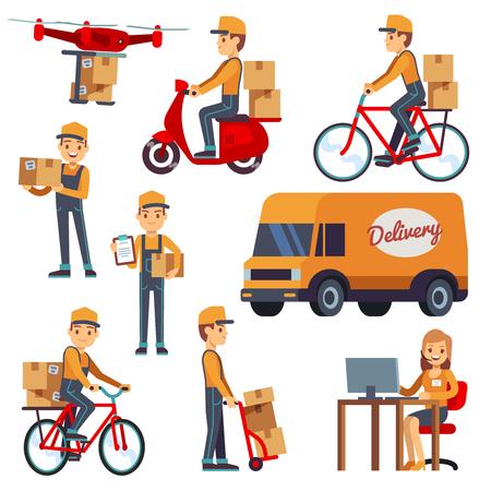 Personnages de messagerie dessin animé mignon avec boîte de livraison. Livraison par drone, scooter, bicyclette. Courrier de livraison sur illustration vectorielle de scooter