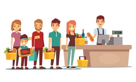 I clienti fanno la fila alla cassa con il cassiere nel supermercato. Concetto di vettore dello shopping. La gente fa la coda nell'illustrazione del mercato del deposito Vettoriali