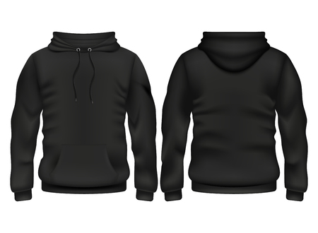 Front and back black hoodie vector template for sport and urban style illustration