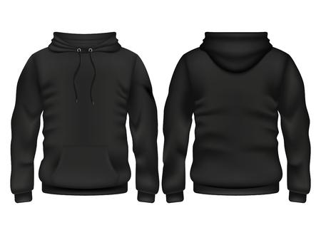 Szablon wektor czarnej bluzy z kapturem z przodu iz tyłu dla ilustracji sportu i stylu miejskiego