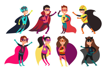 Happy kids superheroes wearing colorful superheros costumes. Cartoon children characters superhero wearing in color costume illustration