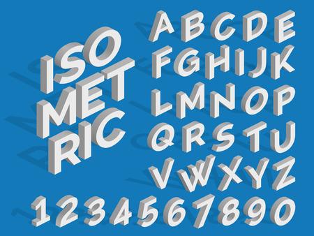 ベクトル等尺性アルファベットと番号とアルファベットの立体イラストレーションの数字  イラスト・ベクター素材