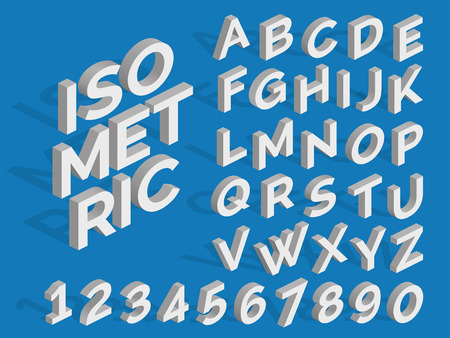 Vector isometric alphabet and numbers in three-dimensional number and alphabet illustration