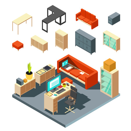 Set of isometric office interior elements. Flat-style vector illustration. Interior with furniture table and armchair