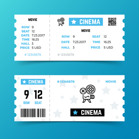 Cinema entrance ticket vector template in modern minimalist style. Design of ticket to cinema movie, entertainment entrance illustration