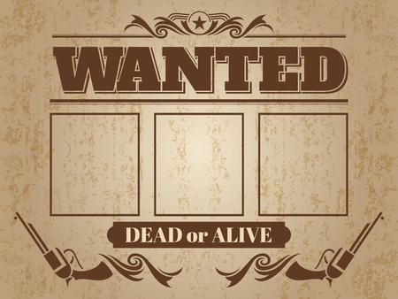 Poster western ricercato d'epoca con spazio vuoto per foto criminali - modello di design ricercato. Vettoriali