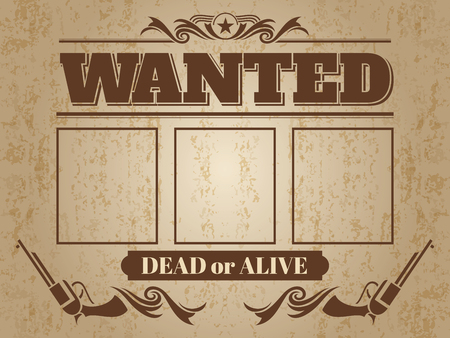 Vintage wanted western poster with blank space for criminal photos - wanted template design.