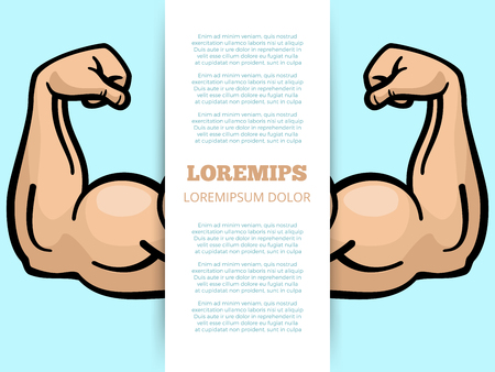 Male muscle arms banner template. Sport fitness poster. Vector illustration