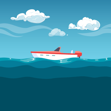 Sea illustration. Red boat rocking on the waves. Illustration