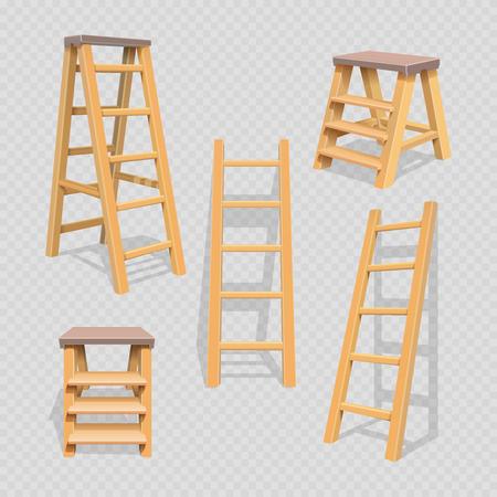Wood household steps set on transparent background. Wood stepladder and wooden ladder, vector illustration Vetores