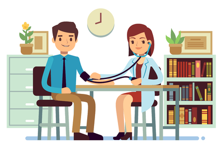 Healthcare and medicine vector concept with doctor checking patients blood pressure. Doctor check pressure patient illustration