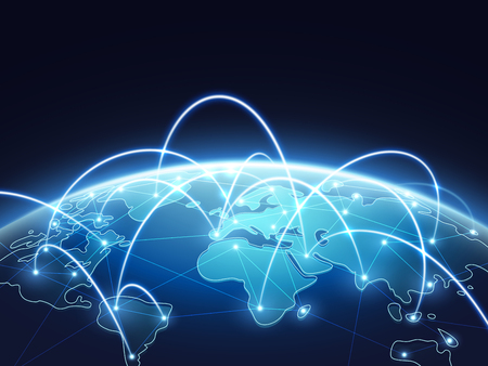 Abstract network vector concept with world globe. Internet and global connection background. Abstract blue world earth digital connection illustration 일러스트