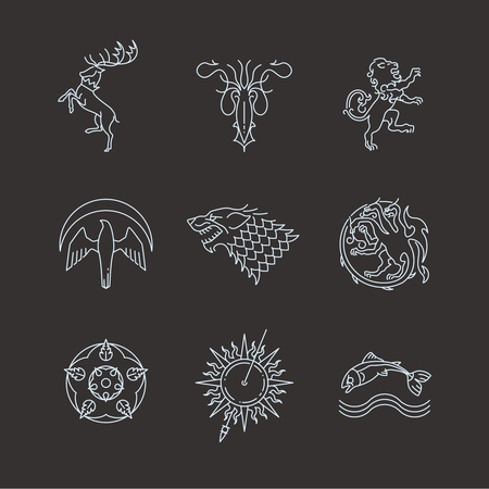 Line heraldic animals gaming thrones symbols. Animal dragon and wild beast mythology. Vector illustration