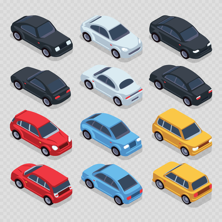 Isometric 3d cars set isolated on transparent background. Set transport isometric automobile, vector illustration