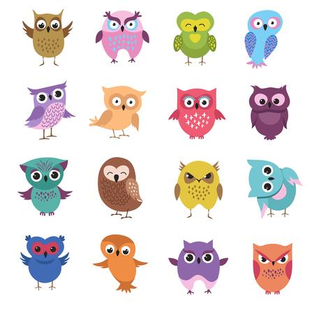 Cute cartoon owl characters vector set. Owl character bird, animal drawing comic and childish illustration Illustration