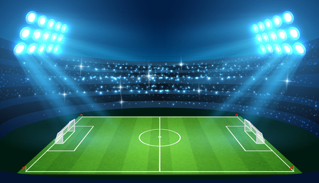 Soccer stadium with empty football field and spotlights vector illustration. Stadium for soccer with green empty field