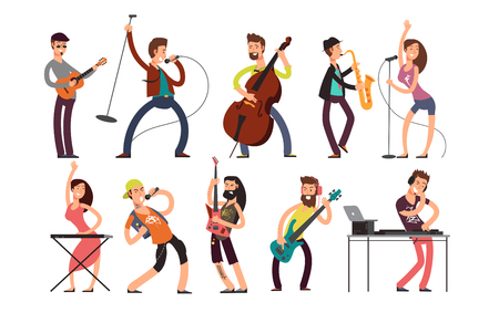Rock and pop musicians vector cartoon characters. Young guitarists, drummers and singers artists isolated. Rock band on concert, guitarist and performer singer illustration