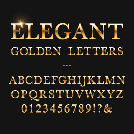 Elegant golden letters. Shiny gold vector alphabet. Letter type golden metallic, abc and numbers yellow illustration