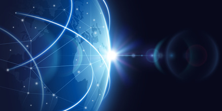 Futuristic global internet network background. Worldwide globalization vector concept. Futuristic connect world digital, globe network communication illustration Vettoriali