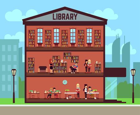 Concepto de biblioteca pública con diferentes estudiantes leyendo libros. Ilustración vectorial