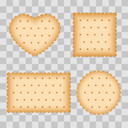 Cartoon biscuit, eating pastry, breakfast cookies isolated on transparent background. Vector illustration