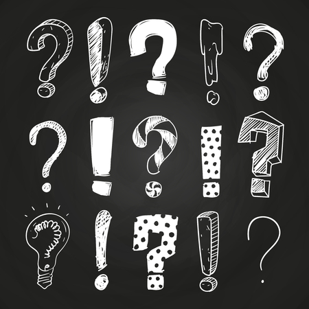 Sketch question and exclamation marks on blackboard design. Vector illustration