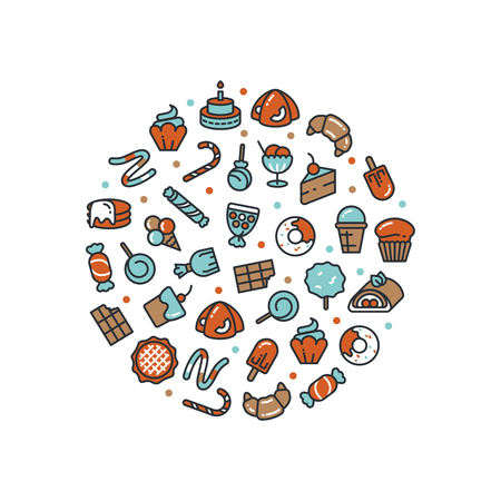 Sweet desserts and candies icons round concept isolated. Vector illustration