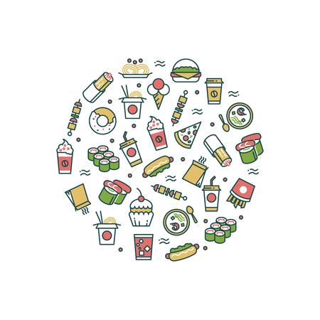 Asian fast food line icons in round form concept. Vector illustration