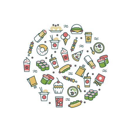 Aziatische fastfood lijn pictogrammen in ronde vorm concept. Vector illustratie Stock Illustratie
