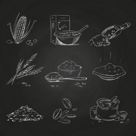 Doodle céréales gruau et porridge, muesli et cornflakes, avoine et seigle, blé et orge, millet et sarrasin, riz et maïs sur tableau noir. Illustration vectorielle
