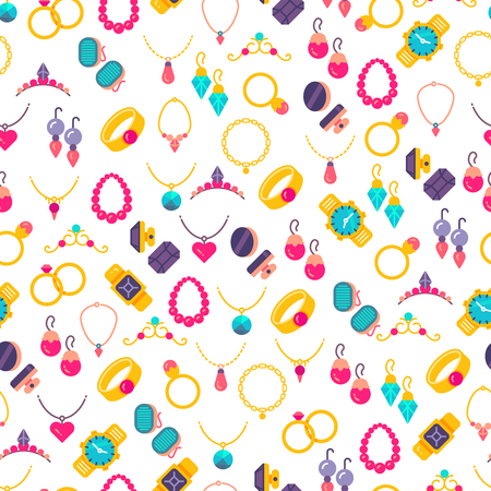 Colorful jewelry icons seamless pattern background. Gem fashion luxury. Vector illustration