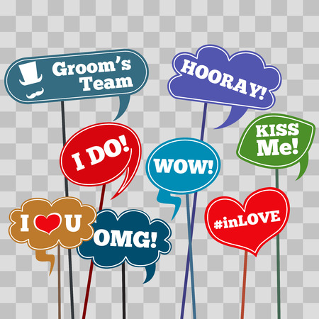 Funny weddings phrases in banner isolated on transparent background. Vector illustration