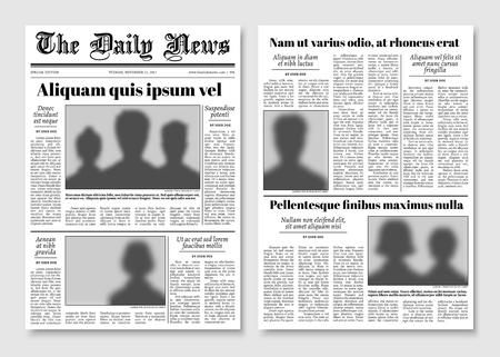 Paper tabloid newspaper vector layout. Editorial news template