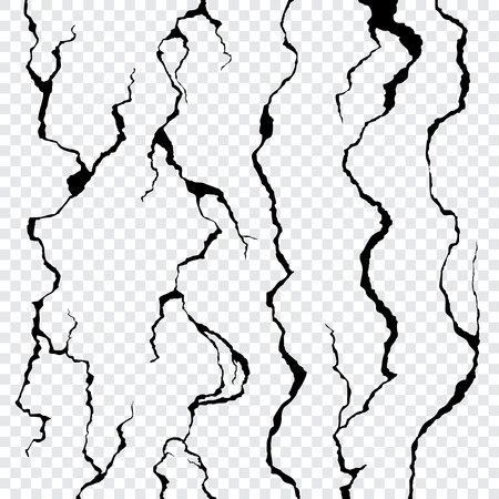 Wall cracks isolated on transparent background