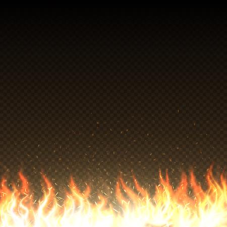 輝く火花孤立ベクトルテンプレートとホット火の炎