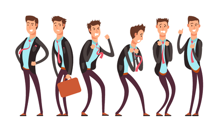 Businessman in different emotional states fear, anger, joy, annoyance, depression, contentment. Vector cartoon charecters set