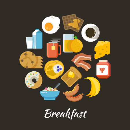 Breakfast vector concept. Fresh and healthy food flat iconce in circle design Illustration