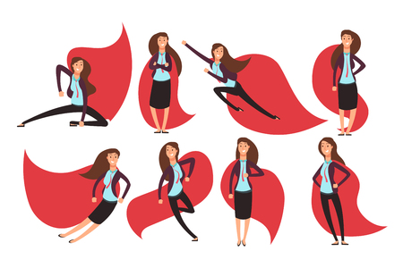 Cartoon businesswoman superhero in red cloak. Different actions and poses vector superheros character set Illustration