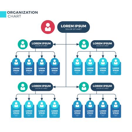 Estructura empresarial de la organización. Gráfico de jerarquía estructural organizacional de vector con iconos de empleados