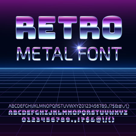Retro space metal vector font. Metallica futuristic letters and numbers in 80s vintage style.